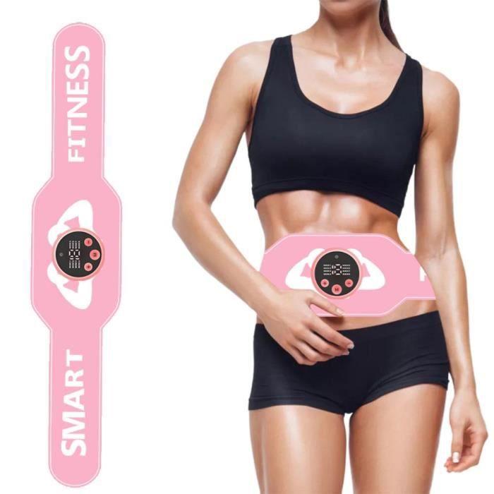 Electrostimulateur Musculaire, Ceinture Abdominale EMS Stimulateur Appareil USB Charge Femme Homme Entraînement - Rose