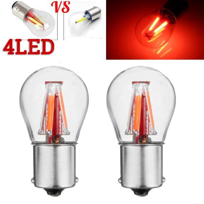 TEMPSA 2X LED Ampoule 1156 BA15S P21W 450LM Voiture 12 V 24 V Super Lumineux 4 Filament COB Rouge