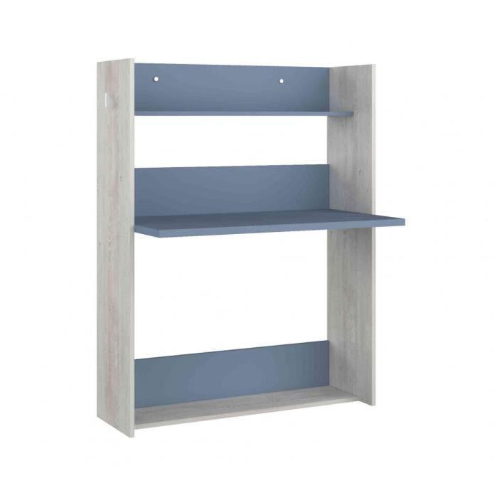 Bureau enfant à paroi en bois grisé et bleu - BU9018