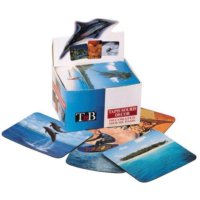 Tapis souris livrés en boîte présentoir de 40 tapis avec 40 décors différents Antidérapant.