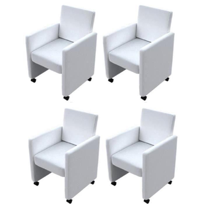 4pcs Fauteuil chaises à roulettes de salle à manger ou de cuisine design ergonomique Blanc 58,5 x 65 x 88 cm