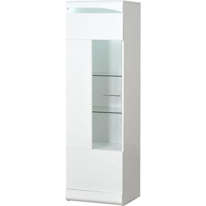 Colonne vitrée 1 porte Blanc laqué brillant à LEDs - PESMES - L 50 x l 42 x H 170