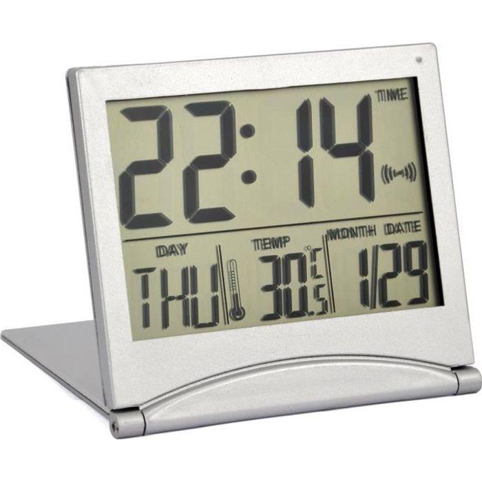 TRIXES Réveil Numérique en Argent Écran LCD de Température Bureau
