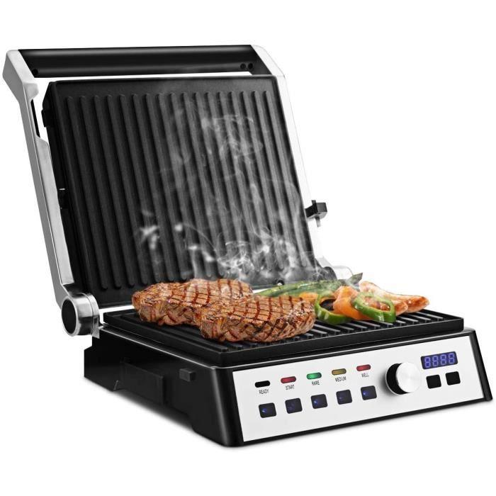 Grille Electrique Multifonction Grille Viande 2000W Revêtement Antiadhésif Écran Tactile Température Réglable Noir