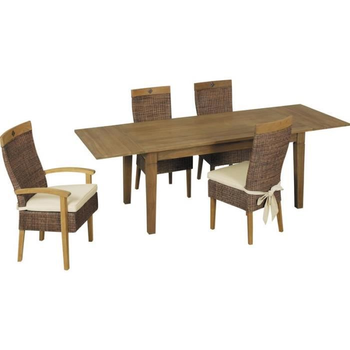 table de salle manger en bois teck avec rallonges achat vente table a manger seule table. Black Bedroom Furniture Sets. Home Design Ideas