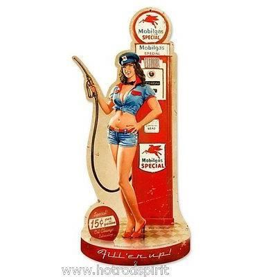 Plaque publicitaire 65cm pin up pompe essence mobiloil pompiste d co hb022 - Pompe a essence deco ...