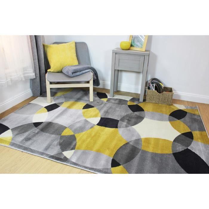 TAPIS NOVATREND - Tapis de salon moderne ASTRE - Jaune -
