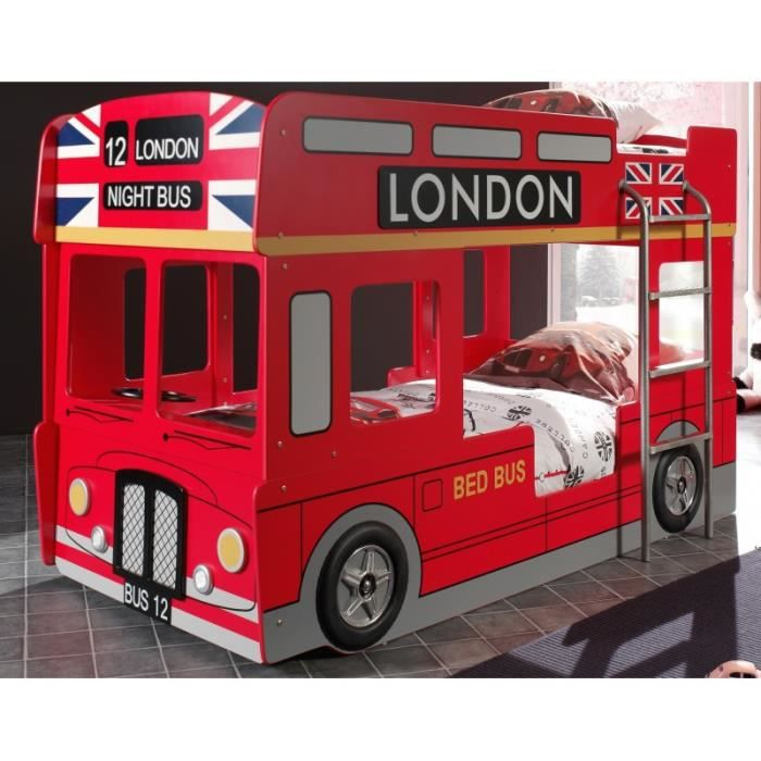 lits superpos s forme bus anglais rouge imperial rouge achat vente lits superpos s lits. Black Bedroom Furniture Sets. Home Design Ideas