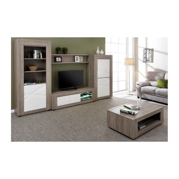 connor table basse ensemble mural gris achat vente. Black Bedroom Furniture Sets. Home Design Ideas