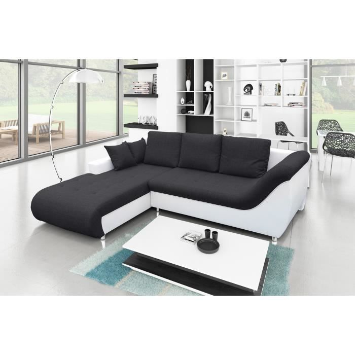 canap d 39 angle convertible tudor noir blanc achat vente canap sofa divan cdiscount. Black Bedroom Furniture Sets. Home Design Ideas