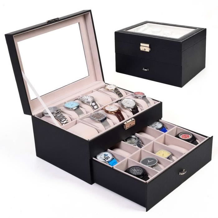 neuf bo te montre bo tier rangement bijoux 20 montres. Black Bedroom Furniture Sets. Home Design Ideas