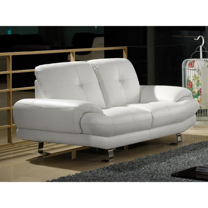Canap cuir 2 places blanc swan achat vente canap - Canape cuir blanc 2 places ...