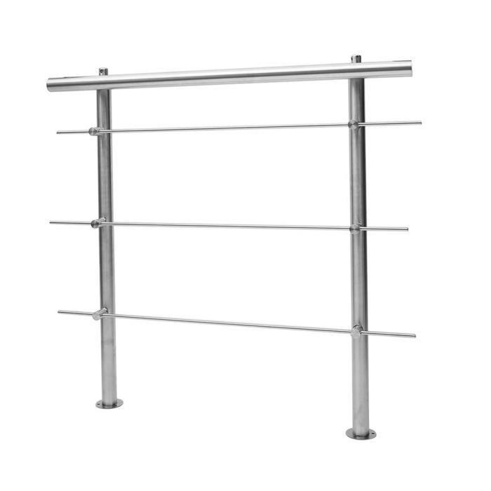 Rampe d/'escalier Acier inoxydable 3 Tiges 120 cm Rambarde Main Courante Balustrade