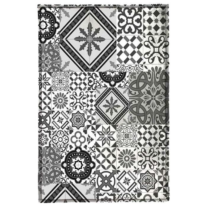 tapis motifs carreaux de ciment gris noir 130x90cm toodoo 130 x 90 cm gris achat vente tapis. Black Bedroom Furniture Sets. Home Design Ideas