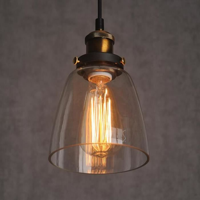 Suspension r tro lustre cr atif lampe en verre industriel for Lustre en suspension