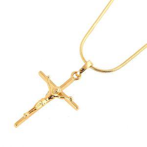 14K Or Jaune religieux crucifix avec Jésus Pendentif Croix Pour Collier Chaîne