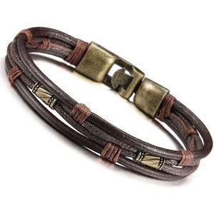 BRACELET - GOURMETTE Bracelet Homme en Cuir Tribal Tressé Manchette Cha