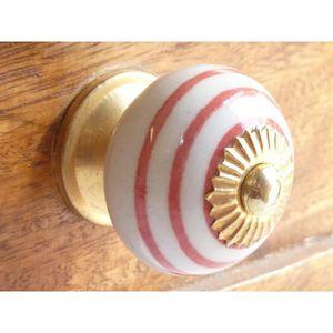 POIGNÉE - BOUTON MEUBLE Boutons en porcelaine blanc trait rouge