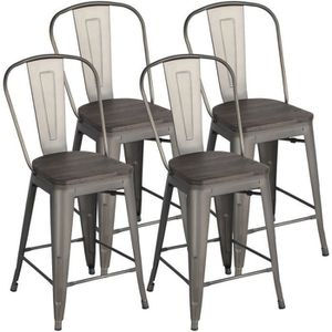 TABOURET DE BAR Yaheetech Lot de 4 Tabouret Bar Industriel avec Do