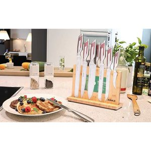 BLOC COUTEAU - MALLETTE BLOC DE COUTEAUX de Cuisine Magnétique en Bambou ,