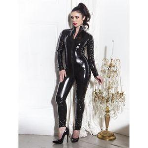 COLLANT Catsuit noir en PVC Catsuit Latex Faux Cuir Clubwe
