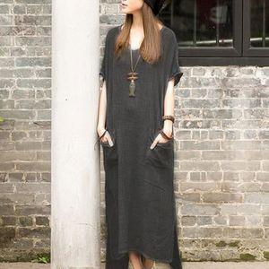 ROBE Robe longue Femmes Loose Coton Lin manches courtes