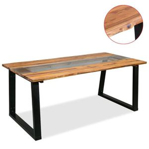 TABLE À MANGER SEULE Table de salle à manger Bois d'acacia et verre 180