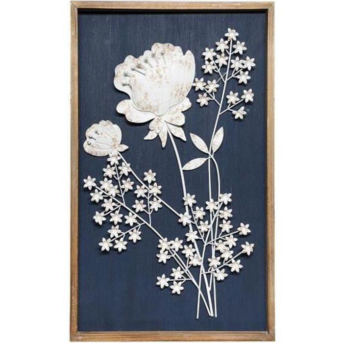 Atmosphera - Déco Murale Cadre en Bois et Fleurs 3D en Métal blanc vieilli 47 x 77 cm Bleu