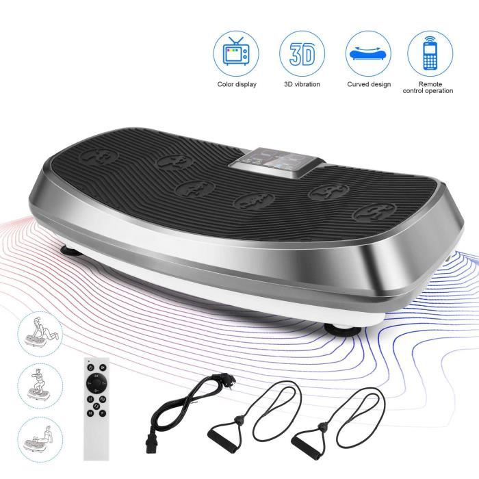 ANCHEER 3D Fitness Plateforme Vibrante Professionnelle avec 2 Moteurs écran Tactile, télécommande + Bandes de résistance- Gris