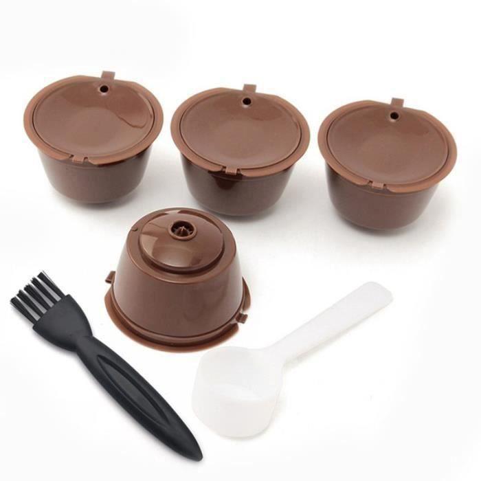 i cafilas 4pcs Dolce Gusto Plastique Rechargeable Capsule de cafe avec Brosse a cuillere 200 fois reutilisable Compatible Nescafe Do