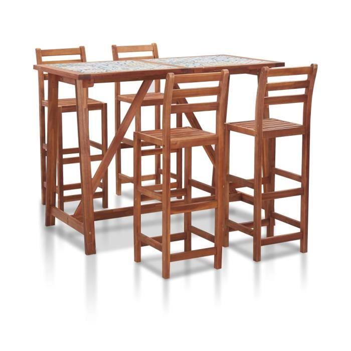 Ensemble Table de bar + 4 tabourets bar - Ensemble de bar d'extérieur Mange-Debout Carreau mosaïque et acacia