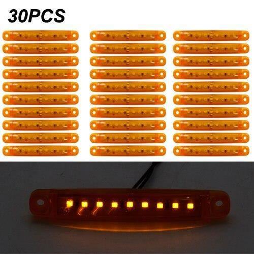 30pcs amber 12v -Feu de signalisation latéral ambre pour Bus-camion-remorque-camion, feu arrière étanche 24V, plaque d'immatricul