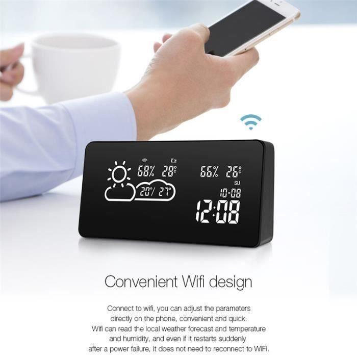 DIGOO Station Météo Smart WIFI LED Prévisions Température Humidité Avec 5 Jours Réveil Luminosité Réglable Maison Intelligent HB3546