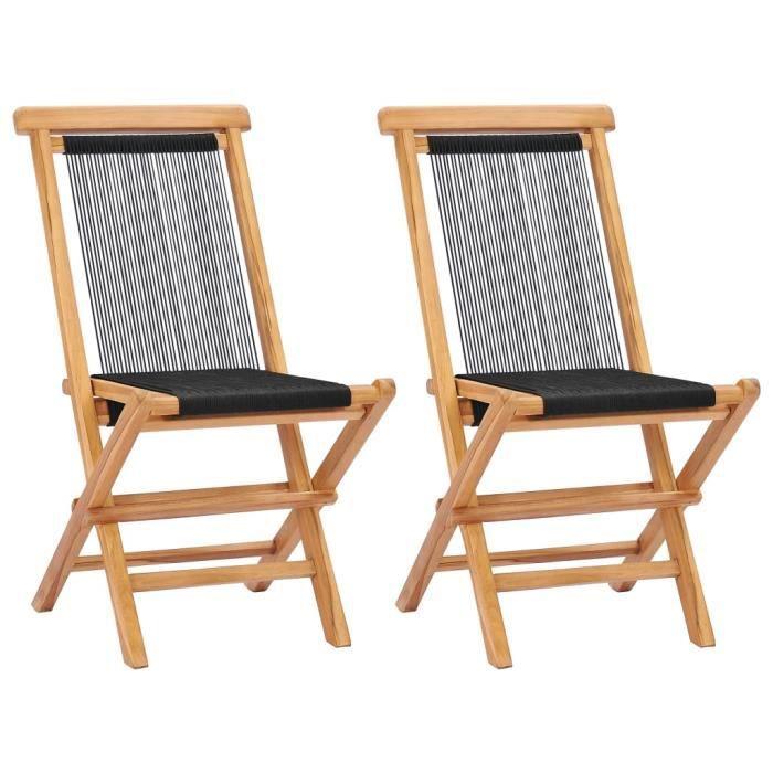 SOLDES-9573Lot de 2 Chaises pliables de jardin Fauteuil de Jardin Chaises de Camping Chic & Moderne Bois de teck solide et corde