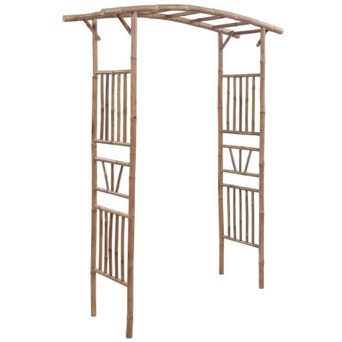 •MONDE1456Arceau Voûte de jardin Arche pour rosiers-Arche de jardin-Arceau à Rosiers Pergola à appentis Bambou 145 x 40 x 187 cm