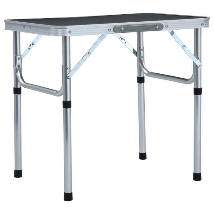Meilleurs® 56934 Table d'extérieur - Table pliable de camping Gris Aluminium 60x45 cm Table de Pique-Nique Table de Jardin - Moderne