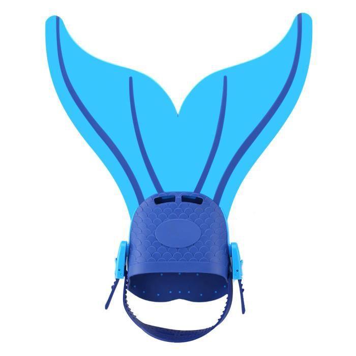 Accessoire natation Sirène de Fin plongée réglable monopalme Pied Flipper les enfants Bleu