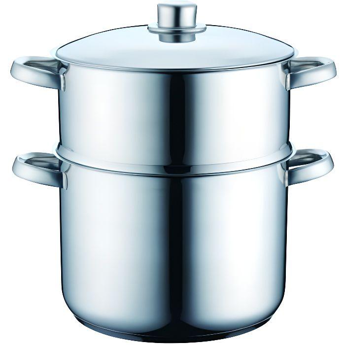 Couscousier en inox avec panier vapeur - 12 L