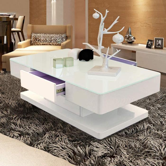 TUKAILAI Table basse moderne blanche avec plateau en verre trempé de 8 mm et surface brillante 2 tiroirs de rangement pour salo A12