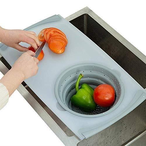 Planche à découper,Planche à découper pliable avec passoire pour cuisine 2 en 1 planche à découper et crépine outil de - Type Gray