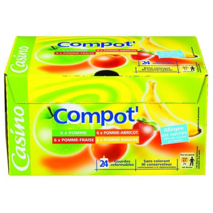 Compotes Pocket Pomme fraise 24x90 g