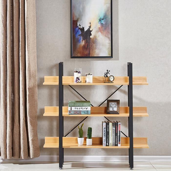 Étagères style industriel en bois clair 106cm - Kalix - DESIGNETSAMAISON