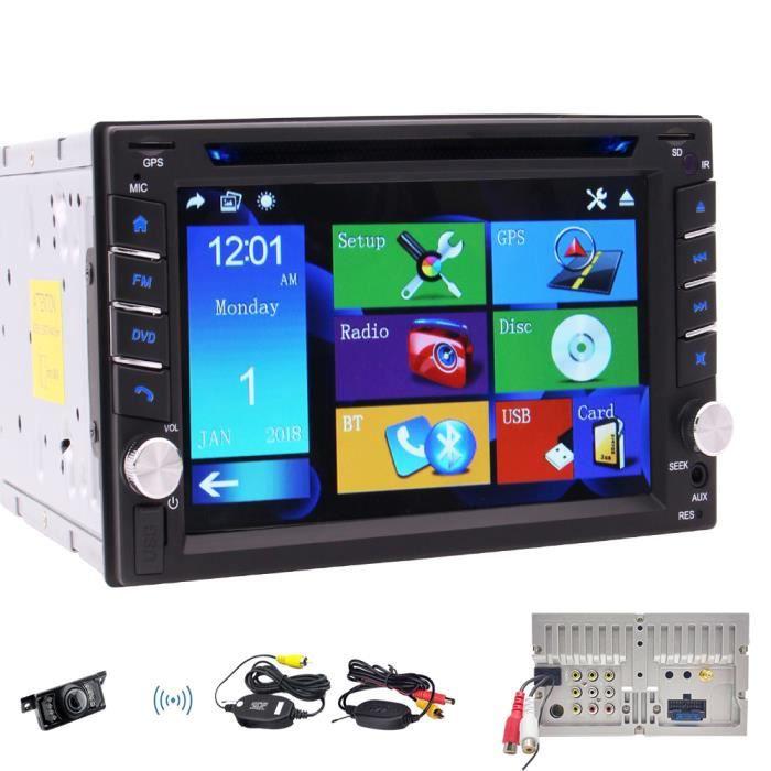 Double Din voiture stéréo Récepteur radio 6.2 pouces lecteur à écran tactile capacitif DVD CD de support GPS, SD USB, FM AM RDS, Blu