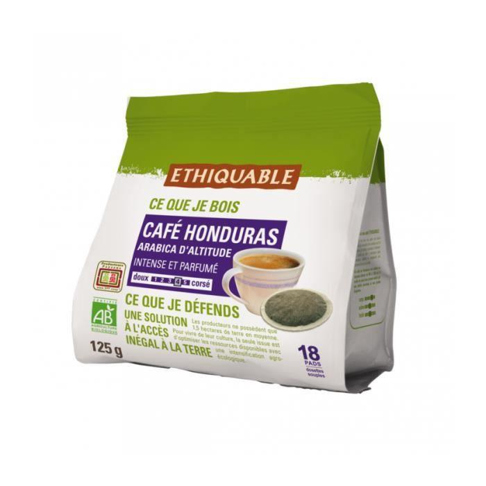 ÉTHIQUABLE - Café Dosettes Amérique du Sud bio & équitable 18 dosettes - 125 g - Compatible SENSEO