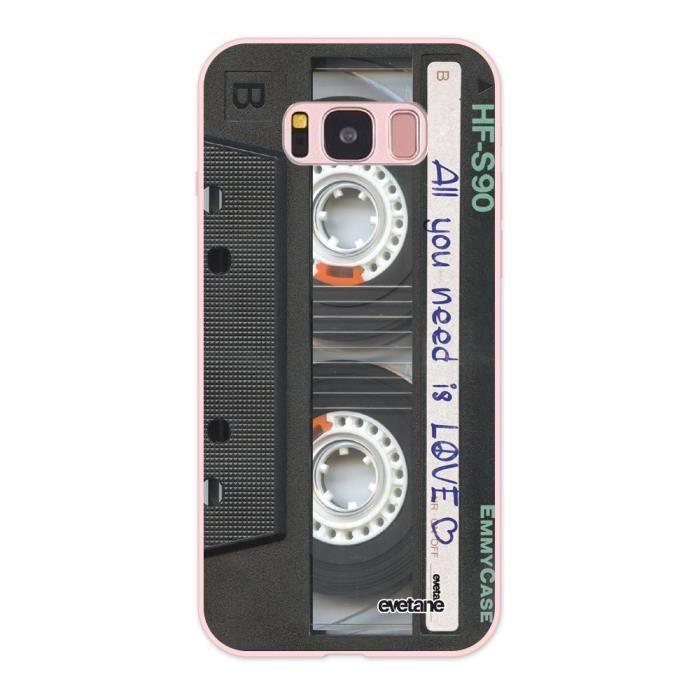 Coque pour Samsung Galaxy S8 Silicone Liquide Douce rose pâle Cassette Ecriture Tendance et Design Evetane