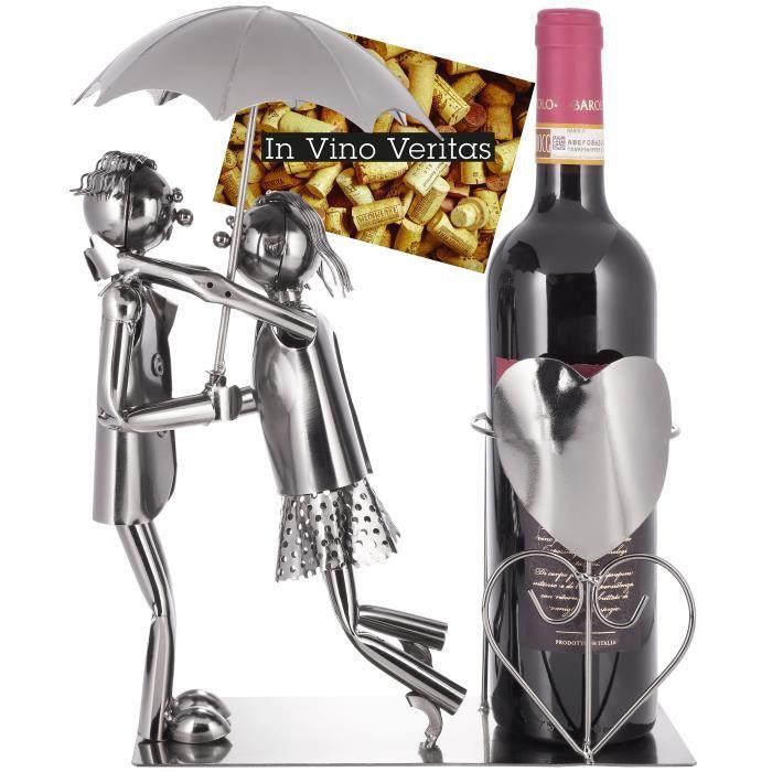 BRUBAKER Porte-bouteille de Vin décoratif - Couple d'amoureux avec un parapluie - métal - avec carte de vœux