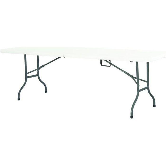 Table de réception jardin camping pliante 244cm Blanc plateau pliable - 10 places