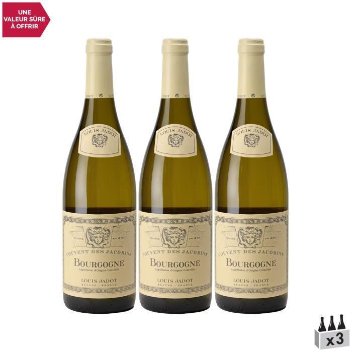 Bourgogne Couvent des Jacobins Blanc 2019 - Lot de 3x75cl - Louis Jadot - Vin AOC Blanc de Bourgogne - Cépage Chardonnay
