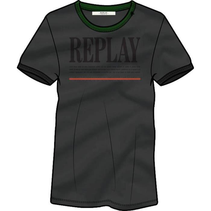 vêtements femme t-shirts replay w3122a. t-shirt à col rond femme en jersey de pur coton, coupe normale avec bords du col et bas des