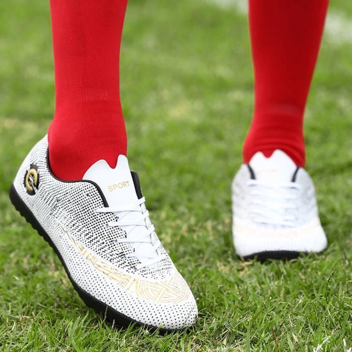 Chaussures de football pour hommes Chaussures de football avec chaussures à jambes basses pour le sport Blanc